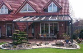 Terrassenüberdachungen grünes Profil mit Seitenelement