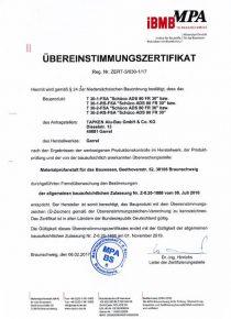 Tapken Alu Bau Zertifikat Brandschutz T-30