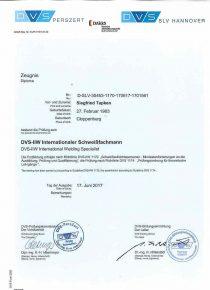 Tapken Alu Bau Zertifikat DVS – Internationaler Schweißfachmann