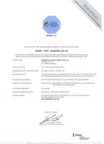 Tapken Alu Bau Zertifikat ZDH DIN EN 1090I